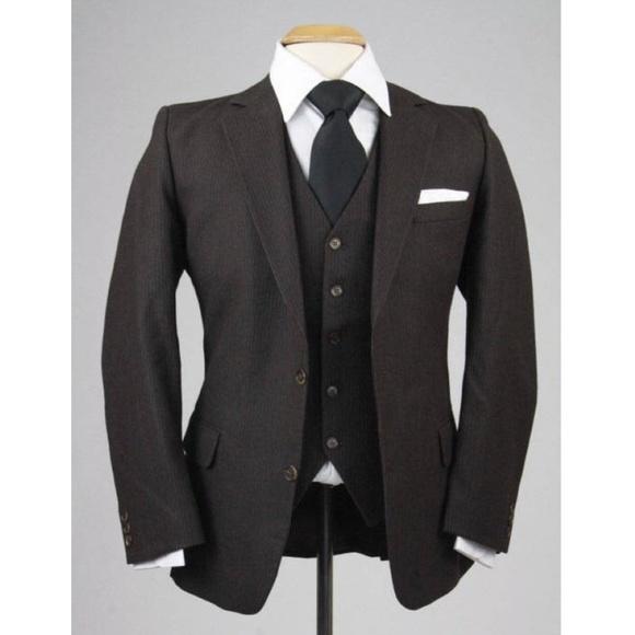 Vintage Other - Vintage 80s Men's Pinstripe 3 Piece Vested Suit
